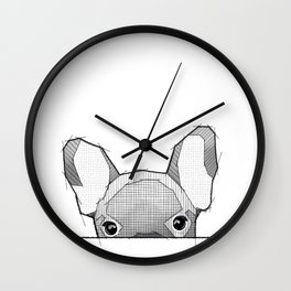 Hiding Frenchy  - white Wall Clock