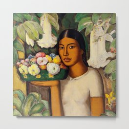 Mujer con Fiores (Bell Flowers, Dahlia & Calla Lilies) by Alfredo Martinez Metal Print
