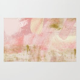 Rustic Gold and Pink Abstract Rug
