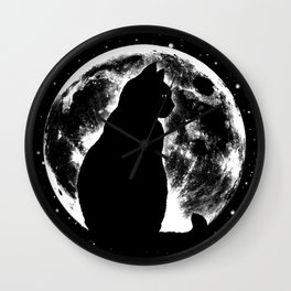 Cat Moon Silhouette Wall Clock