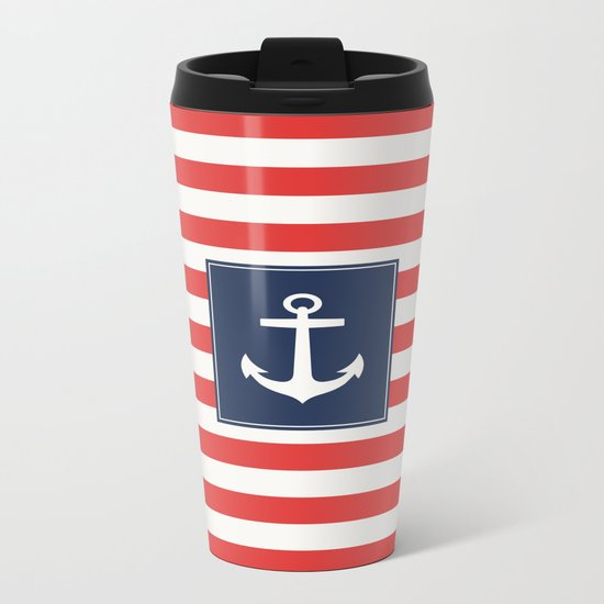 Anchor on red and white stripes Metal Travel Mug