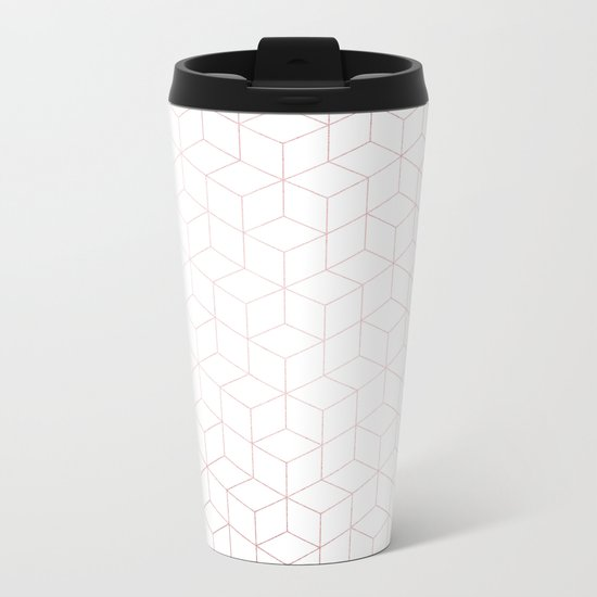 Simply Cubic in Rose Gold Sunset Metal Travel Mug