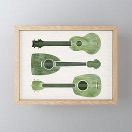 Hawaiian Ukuleles - Emerald Green Framed Mini Art Print