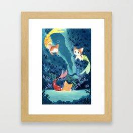 Cat fishes Framed Art Print