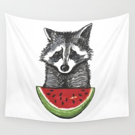 Racoon and watermelon Wall Tapestry