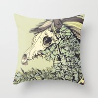 horse Throw Pillows featuring Beautiful Horse Old by dvdesign