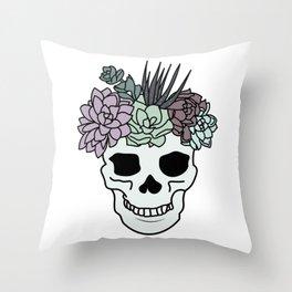 Pretty Aesthetic Skull Succulent Pastel Plant Head Throw Pillow