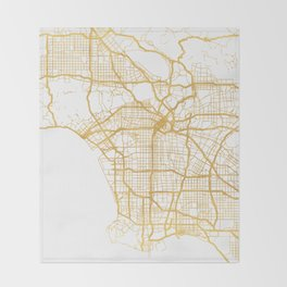 LOS ANGELES CALIFORNIA CITY STREET MAP ART Throw Blanket