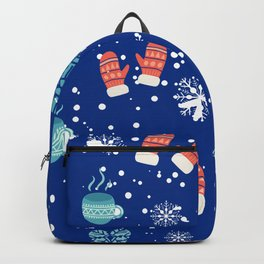 Winter Pattern Mittens Mugs Hearts Snow Flakes Backpack