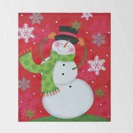 Happy Snowman Throw Blanket