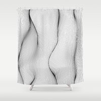 lines Shower Curtains featuring Lines by Line Line Lines