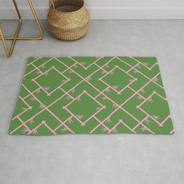 Bamboo Chinoiserie Lattice in Green + Pink Rug