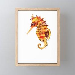 Seahorse decor orange red beach house design Framed Mini Art Print