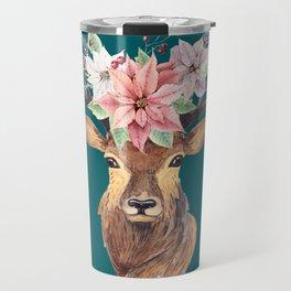 Winter Deer Teal Travel Mug