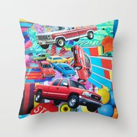 cars Throw Pillows featuring Cars by John Turck