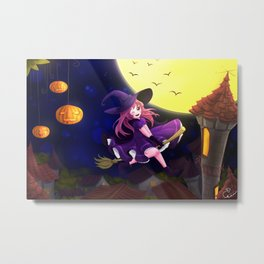 Happy flying little witch Metal Print