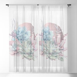 Beautiful Succulents - Rose Gold Sun by Nature Magick Sheer Curtain