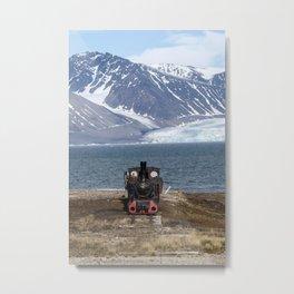 Old locomotive in Svalbard landscape Metal Print