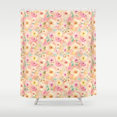 Pretty Peach Pink Yellow Romantic Watercolor Floral Shower Curtain