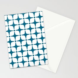 Mid Century Modern Star Pattern Peacock Blue Stationery Cards
