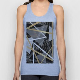 Original Gray and Gold Abstract Geometric Unisex Tank Top
