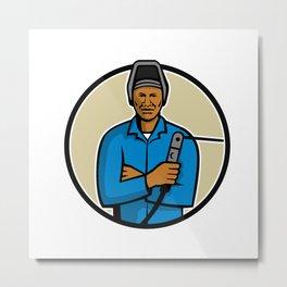 African American Welder Mascot Metal Print