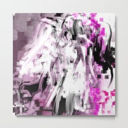 Abstract Angel in Purple, Pink, Black and White Metal Print