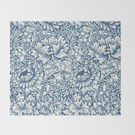 William Morris Navy Blue Botanical Pattern 8 Throw Blanket