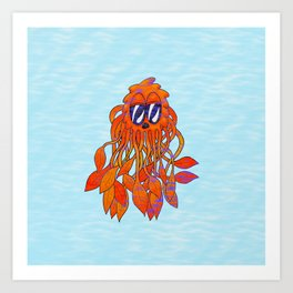 Grumpy Octopus Jelly Monster in the Sea Art Print