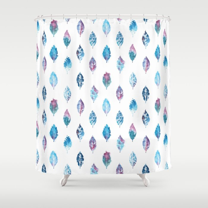 Blue Purple Watercolor Leaves Shower Curtain