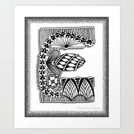 Zentangle E Monogram Alphabet Illustration Art Print