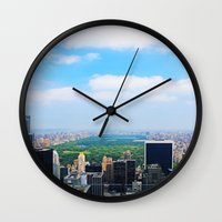 central park Wall Clocks featuring Central Park by NaturallyJess