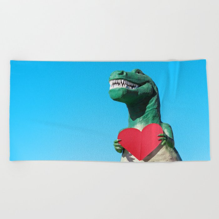 Tiny Arms, Big Heart: Tyrannosaurus Rex with Red Heart Beach Towel