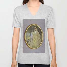 Lady portrait in golden frames Unisex V-Neck