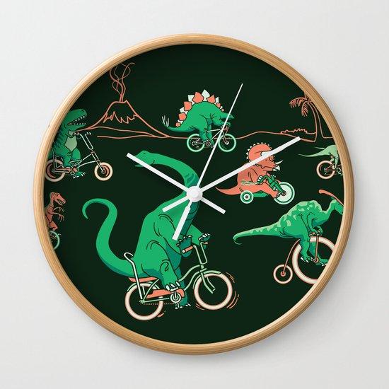 Dinosaurs on Bikes! Wall Clock