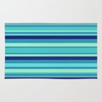 preppy Area & Throw Rugs featuring Preppy Stripes - Aqua Blues by Sweet Karalina