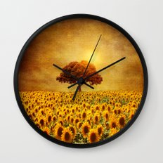 lone tree & sunflowers field (II) Wall Clock