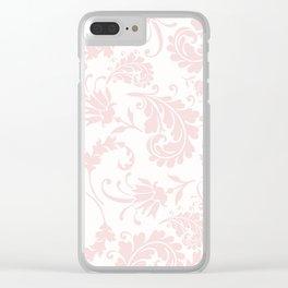 Vintage blush pink elegant floral damask Clear iPhone Case