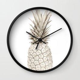 Minimalist White Gold Painted Pineapple Wall Clock