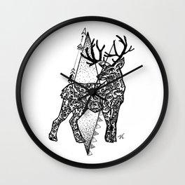 Black and white zentangle deer Wall Clock