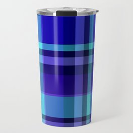 Blue Plaid Pattern Travel Mug