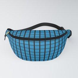 Small Ocean Blue on Black Grid Pattern   Fanny Pack