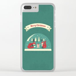 Christmas Foxes Clear iPhone Case