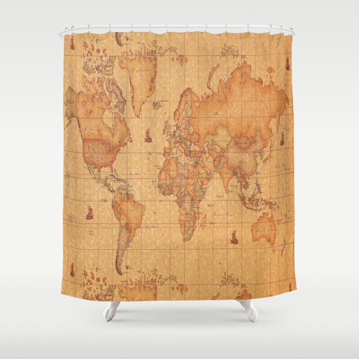 World Map LeaTher Shower Curtain
