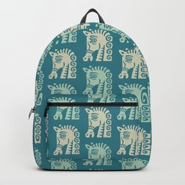 Mid Century Horse Pattern Green and Beige Backpack