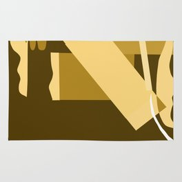 Matisse Inspired Gold Ochre Collage Rug