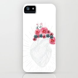 Womens Anatomical Heart graphic Human heart with flowers iPhone Case