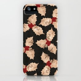 Christmas Gold and Red Holly Berry iPhone Case