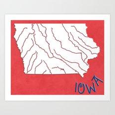 Iowa State Map Art Print