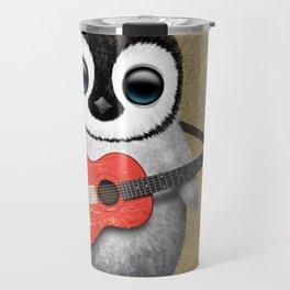 Baby Penguin Playing Swiss Flag Guitar Travel Mug